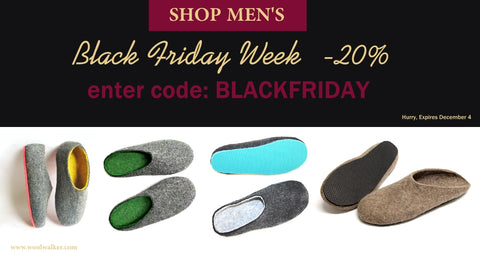 Wool Walker Wool Felt Slippers for Men - Black Friday Sale