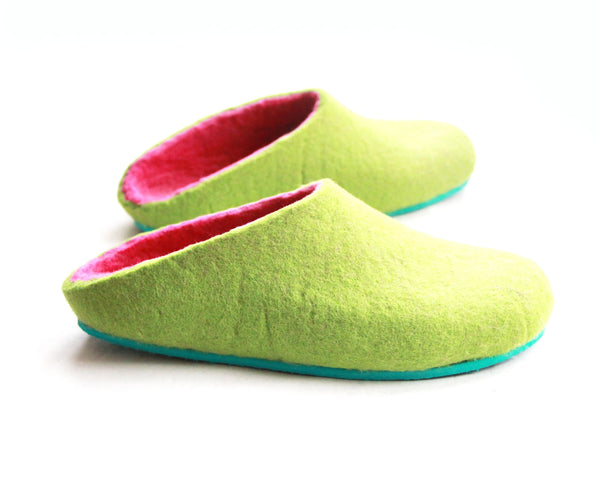 Womens Felt House Shoes Green Fuchsia Color Sole - Wool Walker  - 2