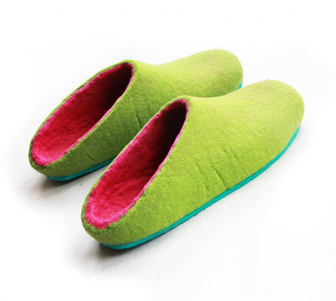 Womens Felt House Shoes Green Fuchsia Color Sole