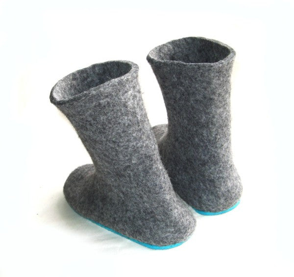 Womens Wool Felt Boots Grey Rubber Sole - Wool Walker  - 3