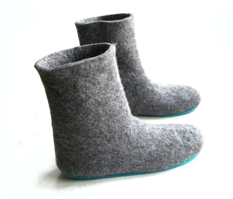 Womens Wool Felt Boots Grey Rubber Sole