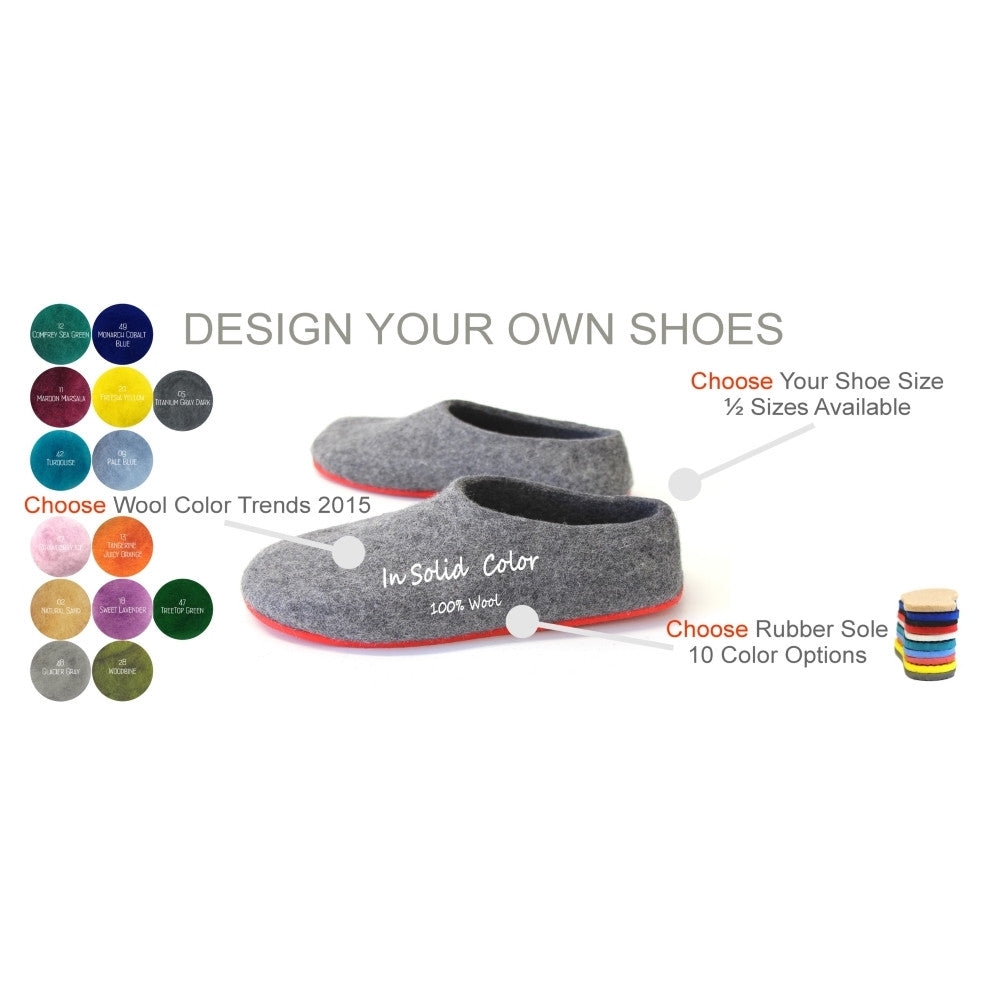 Mens Bespoke Felt Slippers Colors 2015 - Wool Walker  - 6