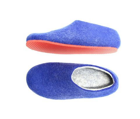 Womens Felted Slippers Nautical with Colour Sole