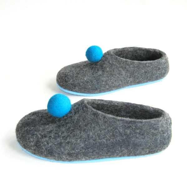 Womens Felt Slippers Grey Polka Dot Color Sole - Wool Walker  - 1