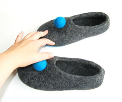 Womens Felt Slippers Grey Polka Dot Color Sole - Wool Walker  - 4