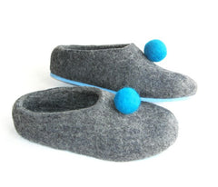 Womens Felt Slippers Grey Polka Dot Color Sole - Wool Walker  - 6