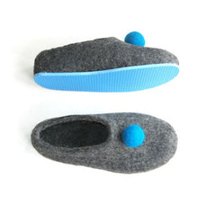 Womens Felt Slippers Grey Polka Dot Color Sole - Wool Walker  - 2