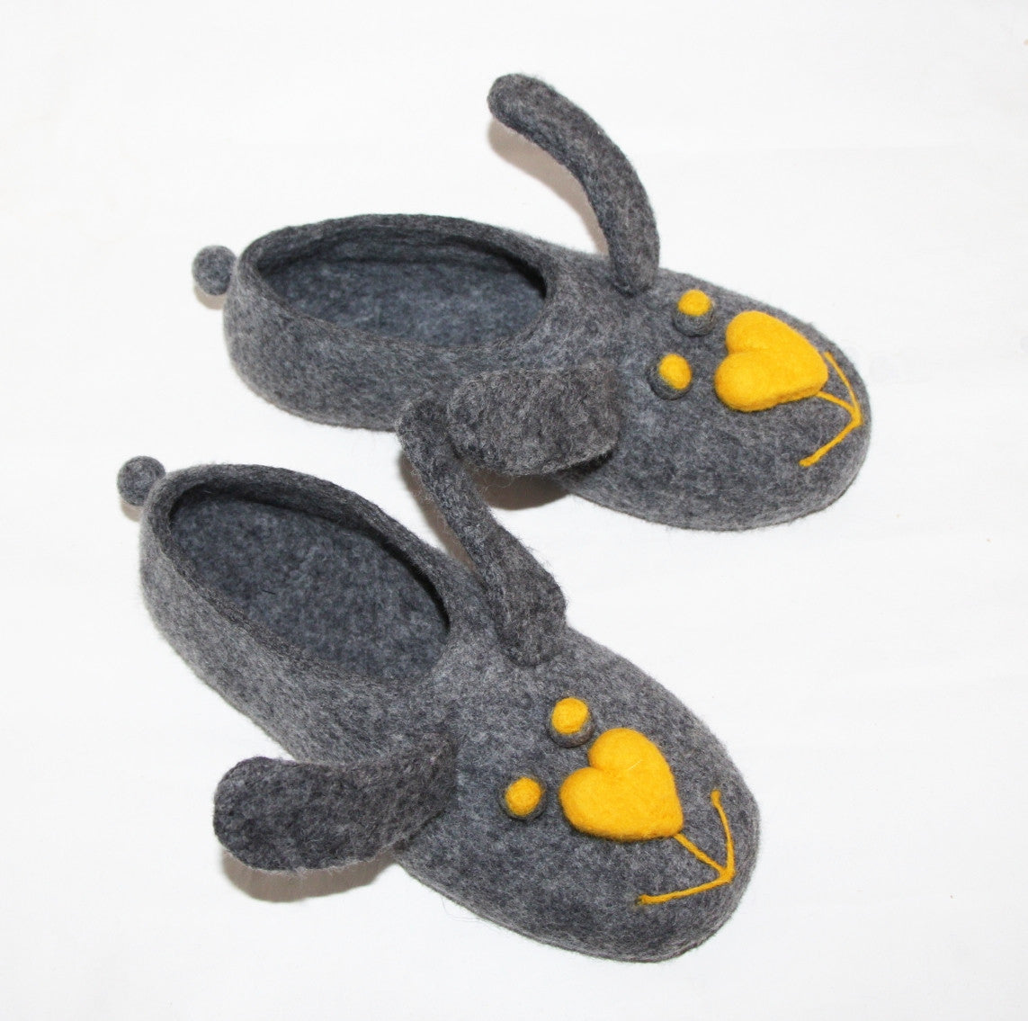 Womens Felt Bunny Slippers Indoors - Wool Walker  - 8