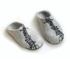 Womens Felted Slippers Grey Personalized Music Contrast Sole - Wool Walker  - 8