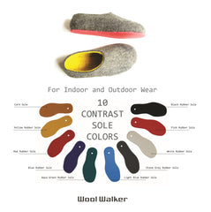 Womens Eco Friendly Felted Slippers Color Rubber Sole - Wool Walker  - 6