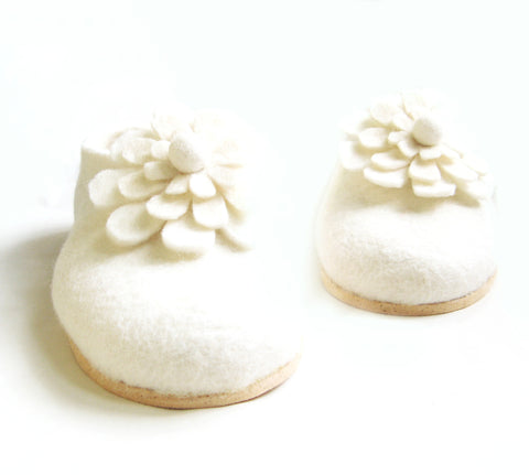Womens Wedding Felt Slippers White Color Sole