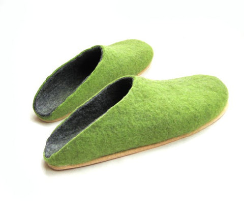 Mens Wool Felt Clogs Green Cork Sole - Wool Walker  - 1