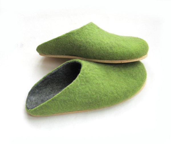 Mens Wool Felt Clogs Green Cork Sole - Wool Walker  - 3