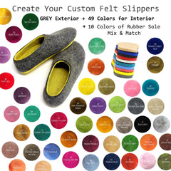 Custom Felt Slippers. Upper Grey with 49 Color Trends For Interior. Unisex - Wool Walker  - 1
