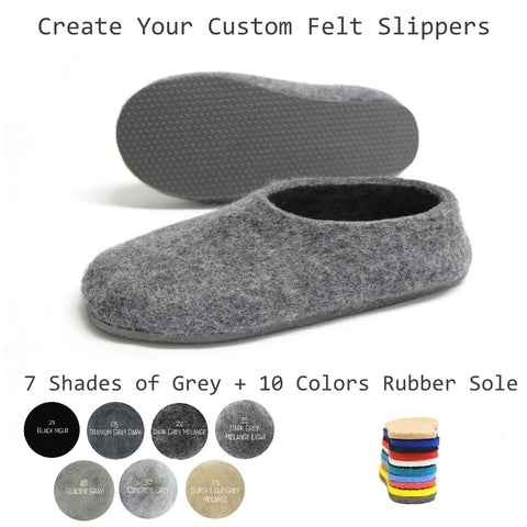 Create Your Custom Felt Slippers. 7 Shades of Grey. Unisex