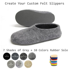 Create Your Custom Felt Slippers. 7 Shades of Grey. Unisex - Wool Walker  - 1