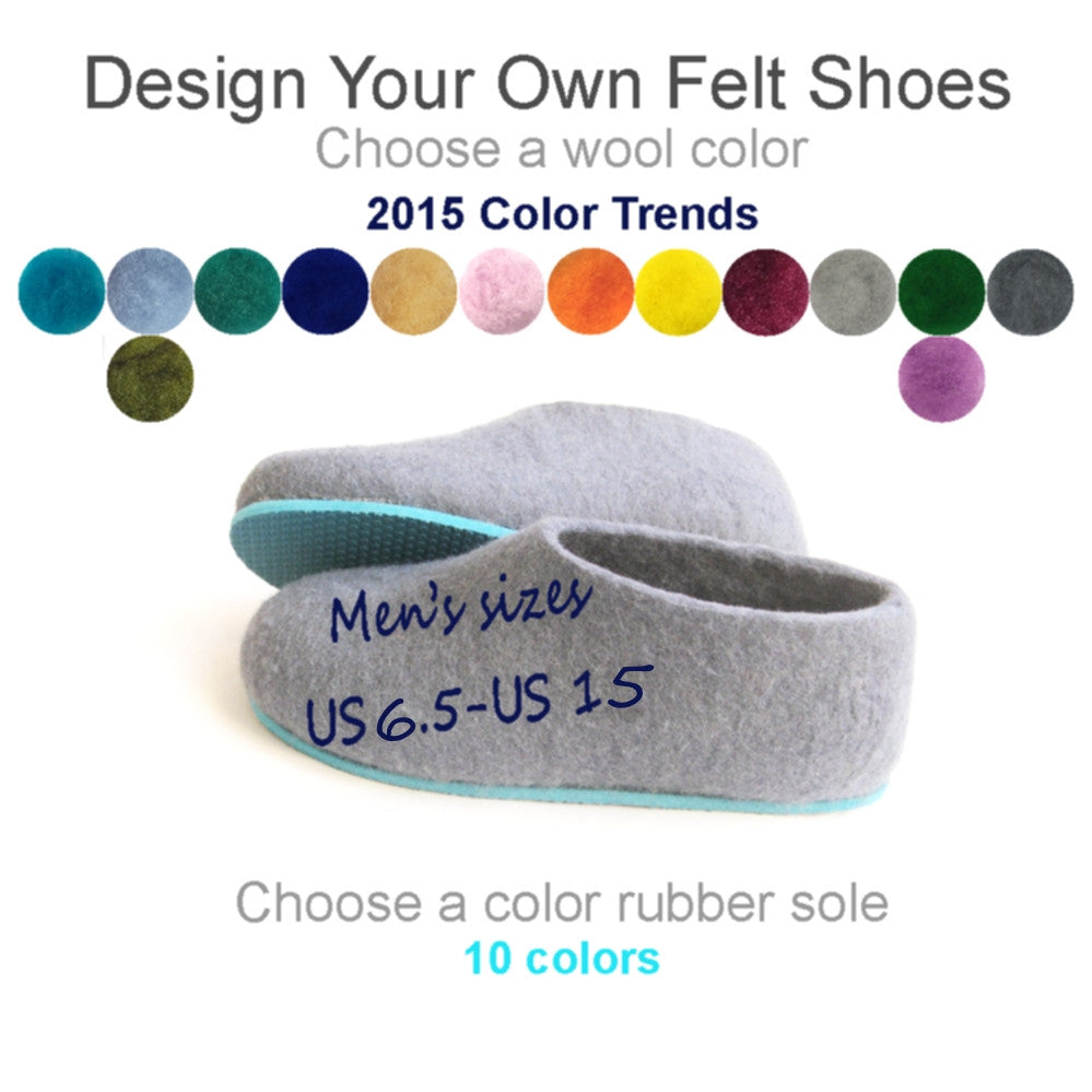 Mens Bespoke Felt Slippers Colors 2015 - Wool Walker  - 1