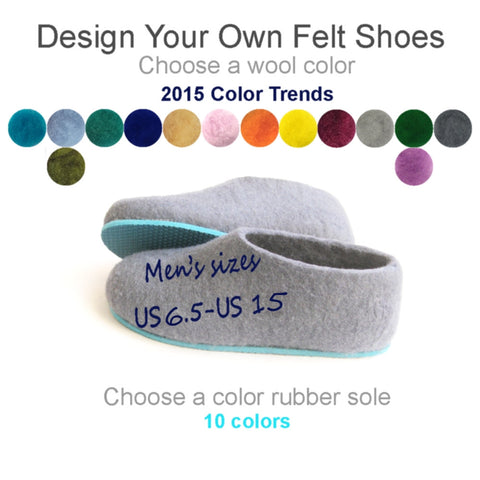 Mens Bespoke Felt Slippers Colors 2015