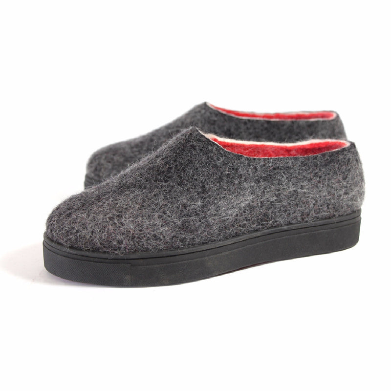 Organic Wool Shoes Red Striped