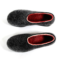 Organic Felt Travel Shoes Red Striped