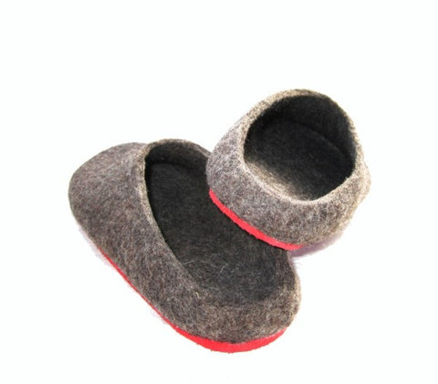 Womens Eco Friendly Felt Slippers With Rubber Sole