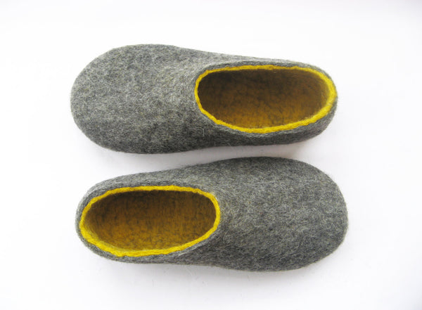 Womens Felt Slippers Grey Yellow Contrast Sole - Wool Walker  - 1
