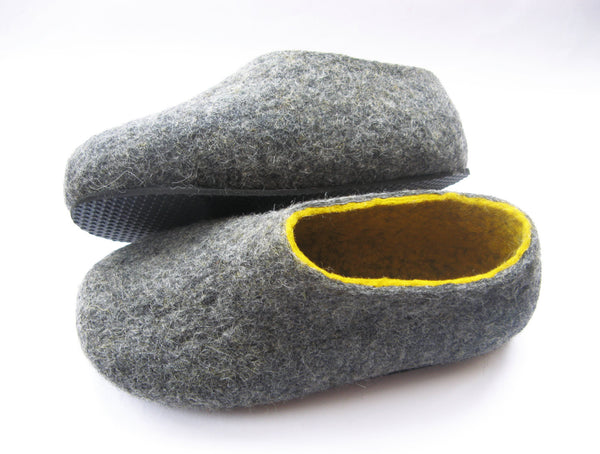 Womens Felt Slippers Grey Yellow Contrast Sole - Wool Walker  - 2