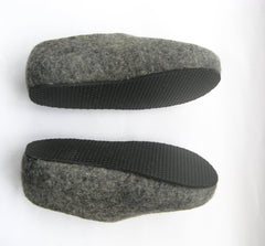 Womens Felt Slippers Grey Yellow Contrast Sole - Wool Walker  - 3