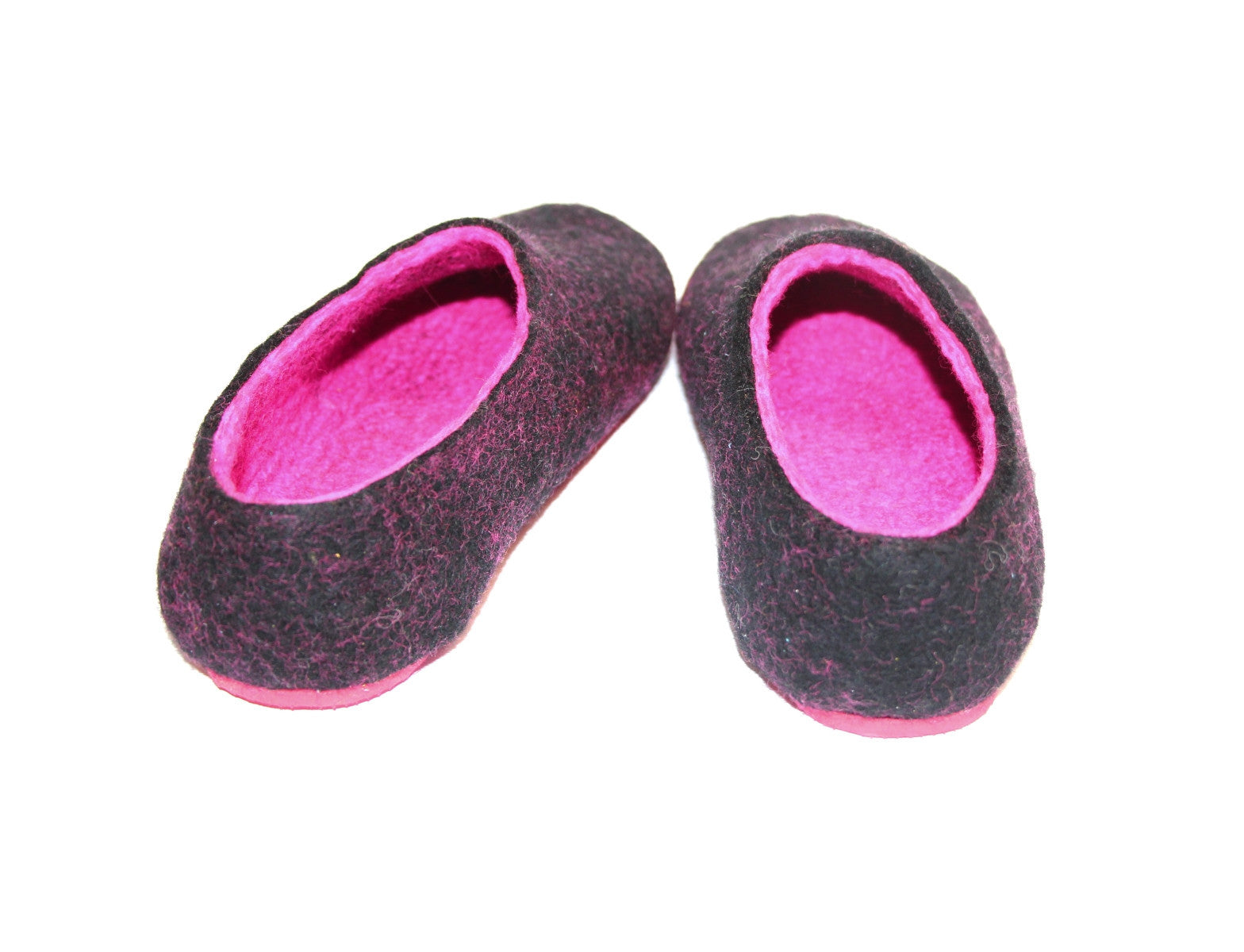 Womens Felt Slippers Black Fuchsia Contrast Sole - Wool Walker  - 2