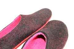 Womens Felt Slippers Black Fuchsia Contrast Sole - Wool Walker  - 3