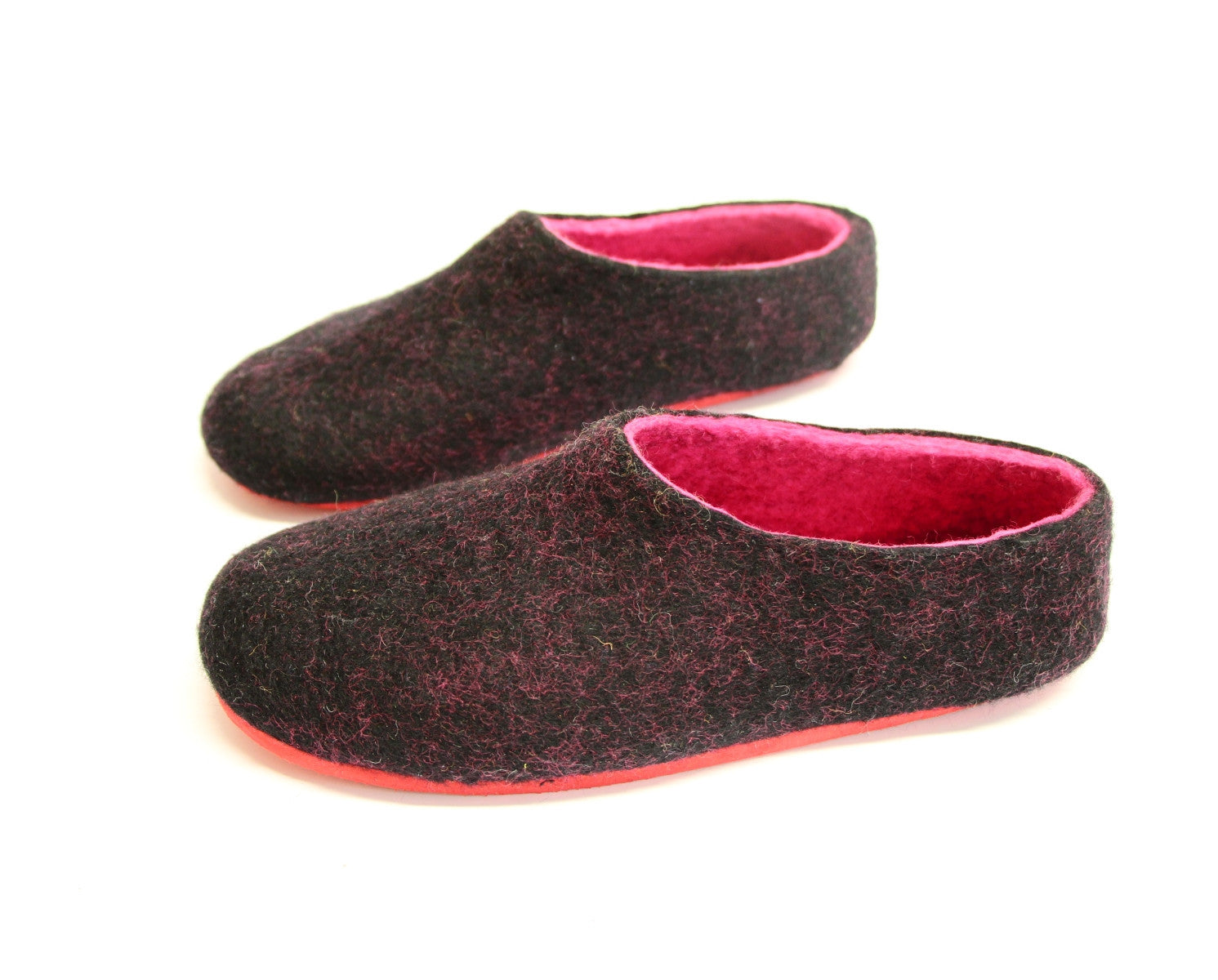 Womens Felt Slippers Black Fuchsia Contrast Sole - Wool Walker  - 4
