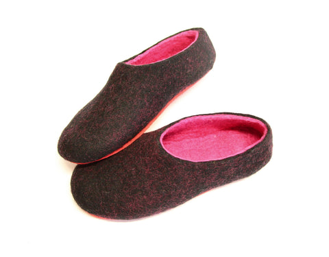 Womens Felt Slippers Black Fuchsia Contrast Sole