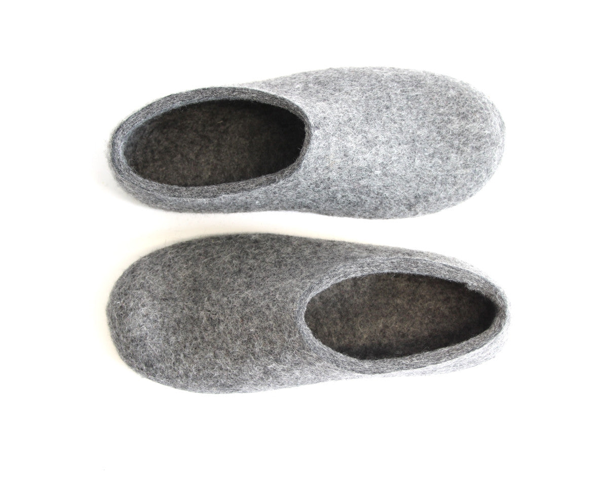 Womens Felt House Shoes Grey Contrast Sole - Wool Walker  - 6