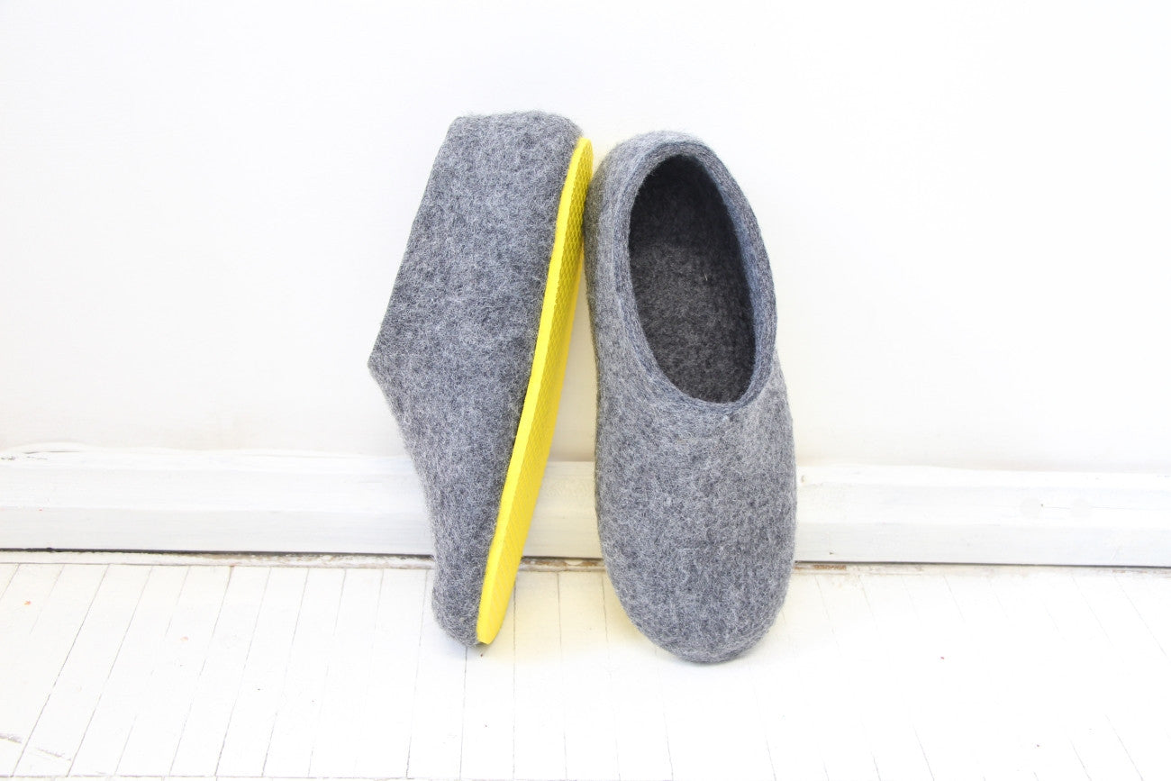 Womens Felt House Shoes Grey Contrast Sole - Wool Walker  - 1