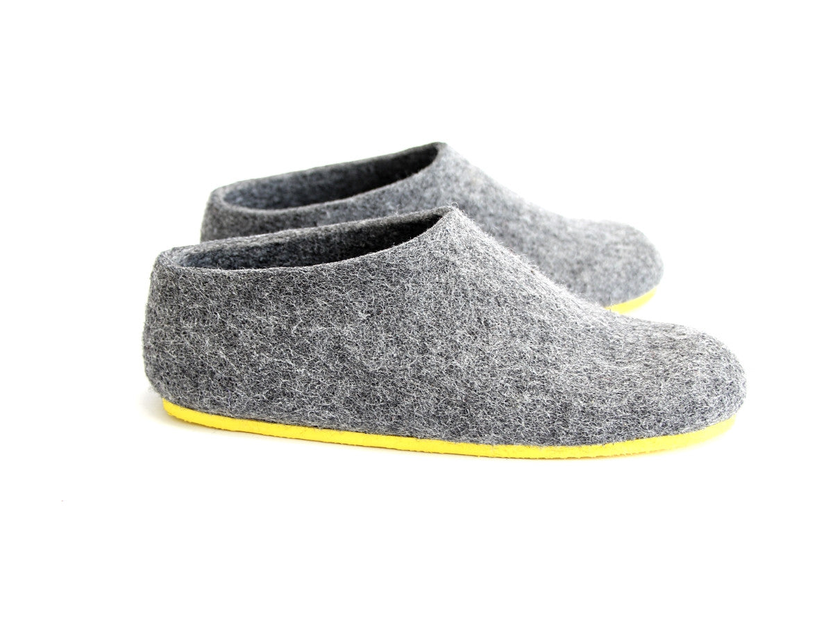 Womens Felt House Shoes Grey Contrast Sole - Wool Walker  - 3
