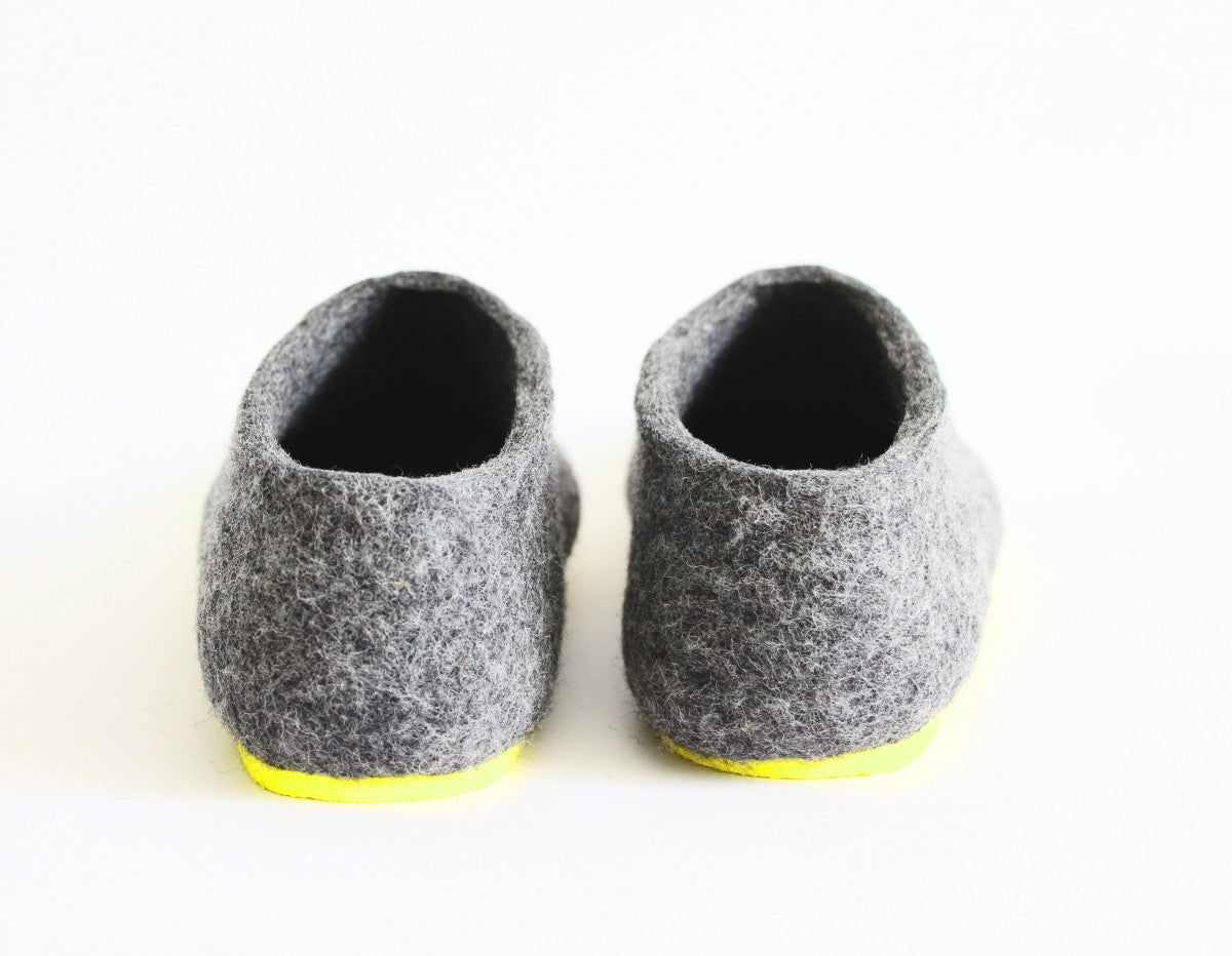 Womens Felt House Shoes Grey Contrast Sole - Wool Walker  - 4