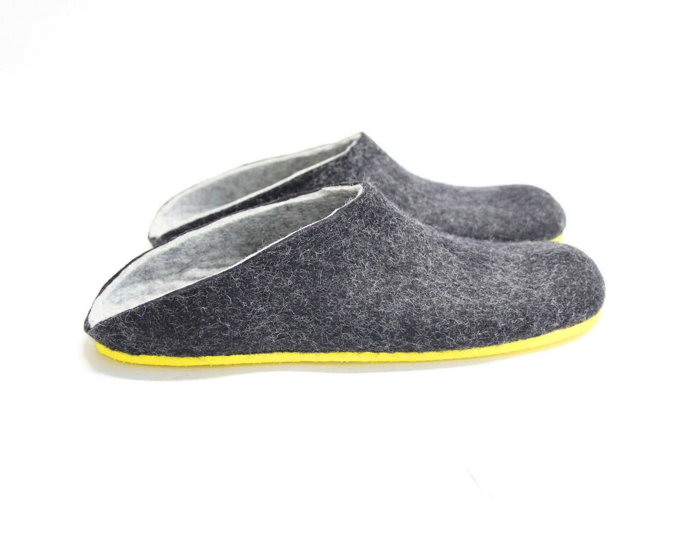 Mens Felt Clogs Charcoal Contrast Sole - Wool Walker  - 1