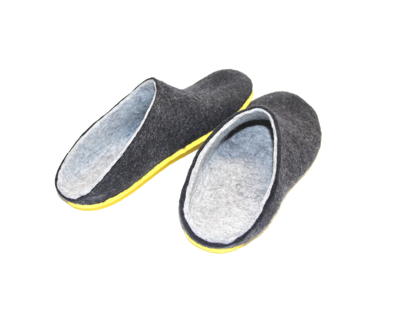 Mens Felt Clogs Charcoal Contrast Sole - Wool Walker  - 2