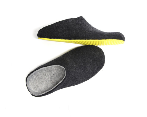 Mens Wool Clogs Charcoal Winter Warmers