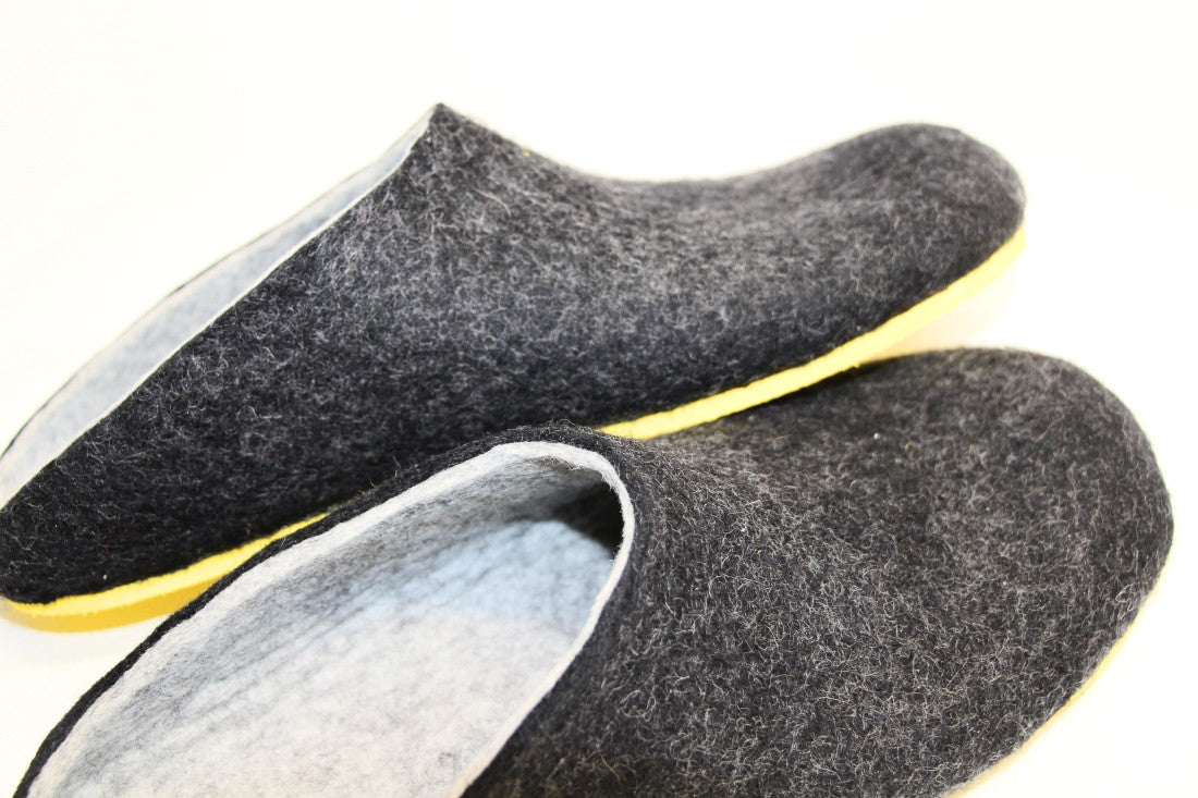 Mens Felt Clogs Charcoal Contrast Sole - Wool Walker  - 4