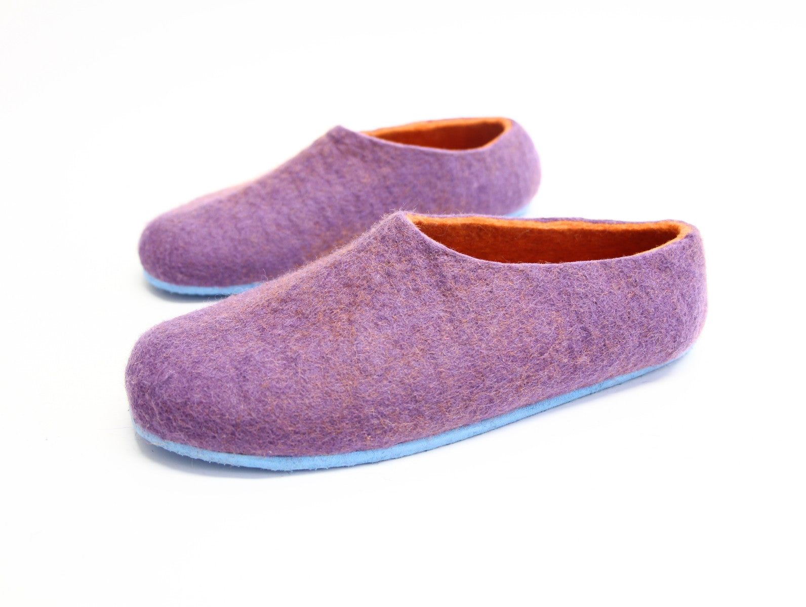 Womens Felt House Shoes Purple Tangerine Contrast Sole - Wool Walker  - 1