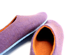 Womens Felt House Shoes Purple Tangerine Contrast Sole - Wool Walker  - 5