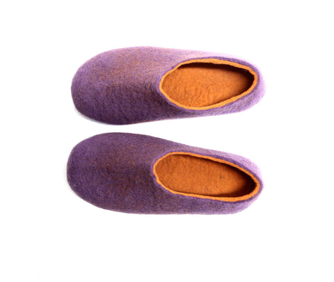Womens Felt House Shoes Purple Tangerine Contrast Sole