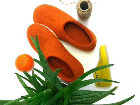 Womens Felt Slippers Tangerine Orange Contrast Sole