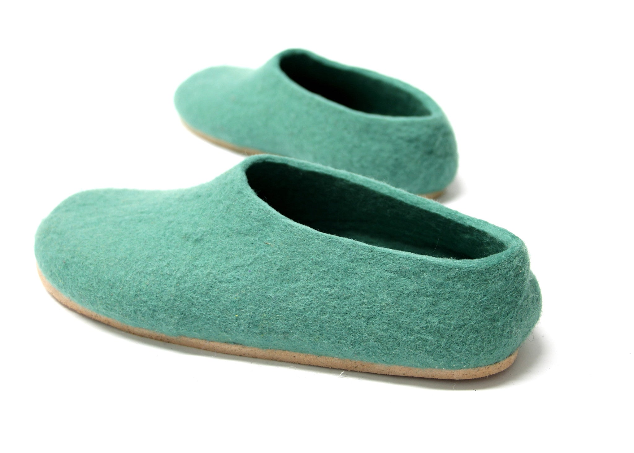 Womens Felt Slippers Lucite Green Contrast Sole - Wool Walker  - 1