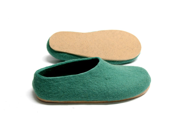 Womens Felt Slippers Lucite Green Contrast Sole - Wool Walker  - 2