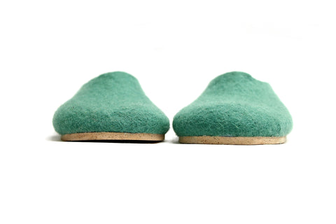 Womens Felt Slippers Lucite Green Contrast Sole