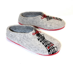 Womens Felted Slippers Grey Personalized Music Contrast Sole - Wool Walker  - 2