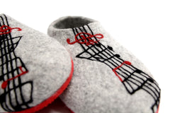 Womens Felted Slippers Grey Personalized Music Contrast Sole - Wool Walker  - 3