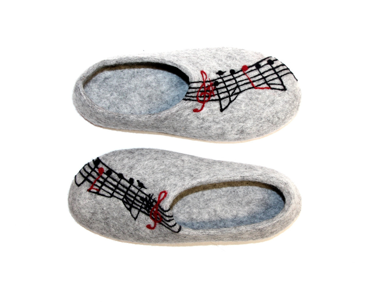 Womens Felted Slippers Grey Personalized Music Contrast Sole - Wool Walker  - 5